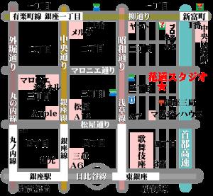 銀座ダンス教室 チラシ フライヤー ウェブ 花道スタジオ 地図 素材 透明GIF